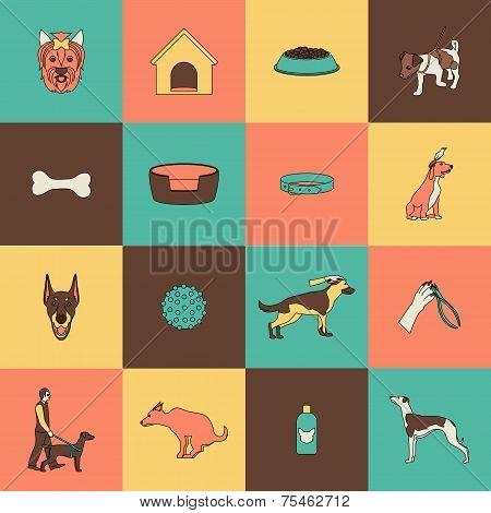 Dog icons flat line