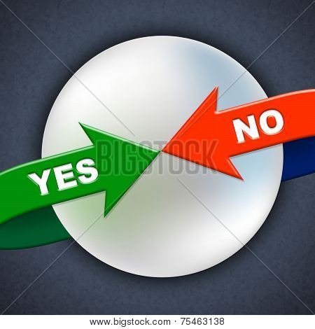 Yes No Arrows Shows All Right And Ok