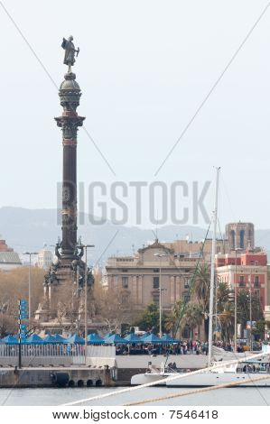 Barcelona's Seaport And Columbus Monument (vertical)