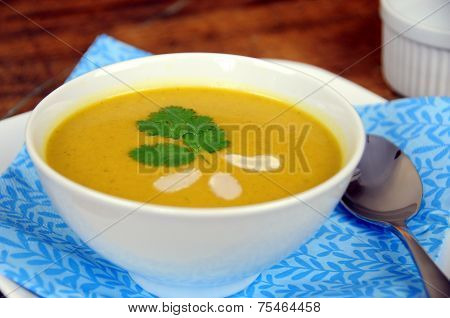 View of pumpkin squash soup