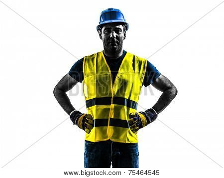 one construction worker standing with safety vest silhouette isolated in white background