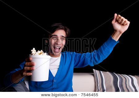Happy Young Man, With Popcorn Watching