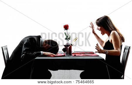 couples dinning heart attack dead collapsing in silhouettes on white background