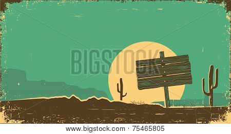 Western Illustration Of Desert Landscape On Old Paper Texture