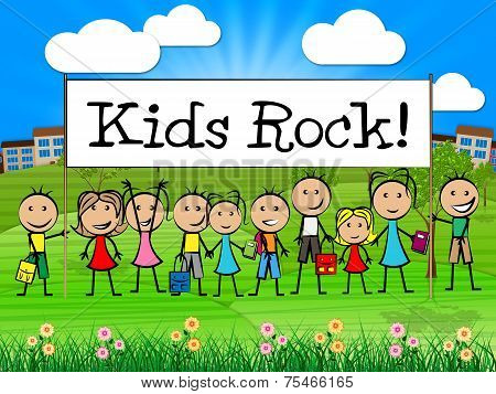 Kids Rock Banner Indicates Free Time And Child