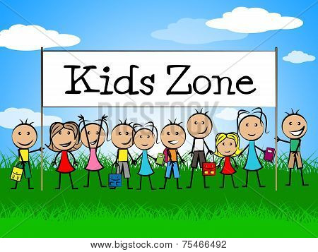 Kids Zone Banner Indicates Playing Playtime And Youngster