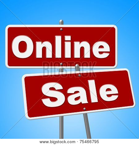 Online Sale Signs Shows Web Site And Retail