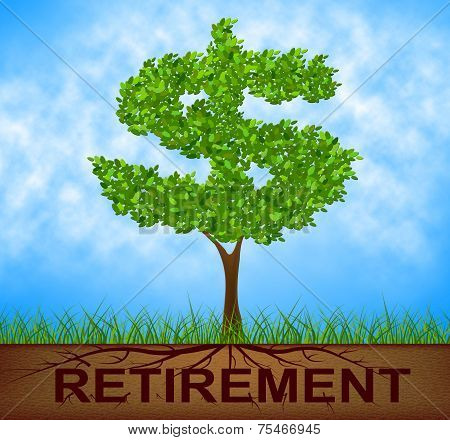 Retirement Tree Indicates Finish Work And Branch