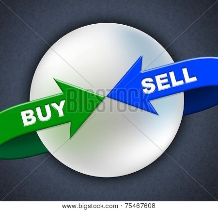 Buy Sell Arrows Shows Retail Purchase And Shop