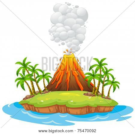 Volcano on an island with smoke