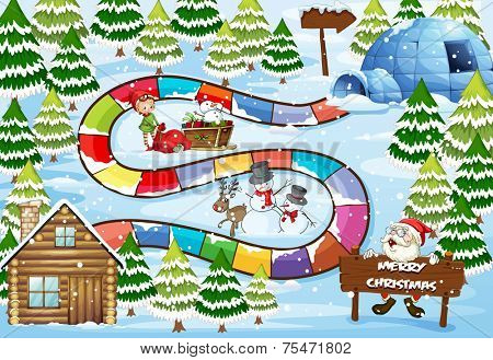 Christmas board game in winter