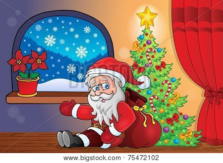 Santa Claus indoor scene 8 - eps10 vector illustration.