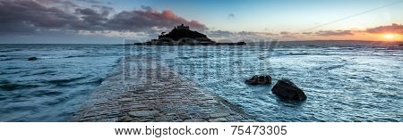 Panoramic View Of The Causeway At High Tide Leading To St Michaels Mount At Marazion Near Penzance I