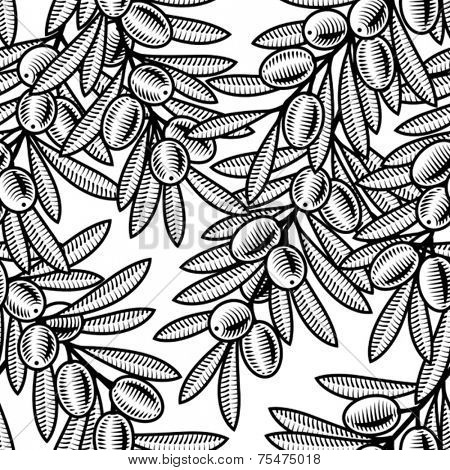 Seamless olive background black and white. Vector