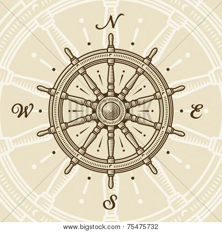Vintage ship wheel. Vector