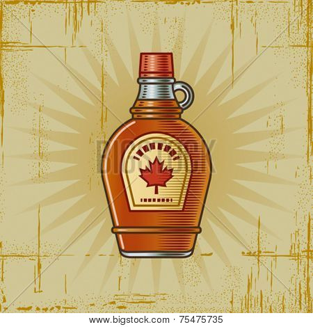 Retro Maple Syrup Bottle. Vector