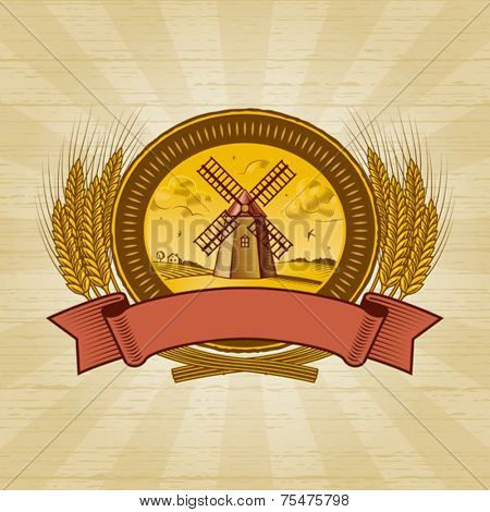 Cereal harvest label. Vector