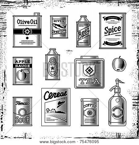 Retro grocery set black and white