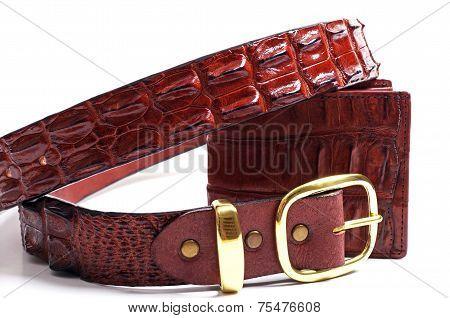 crocodile skin wallet and belt