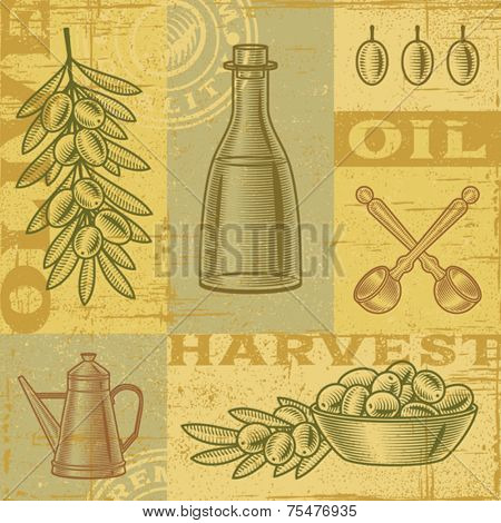 Vintage olive harvest background. Vector