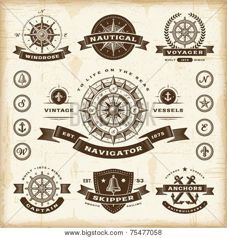 Vintage nautical labels set. Fully editable EPS10 vector.