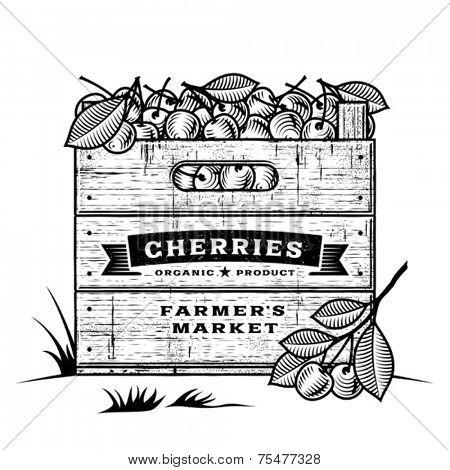 Retro crate of cherries black and white