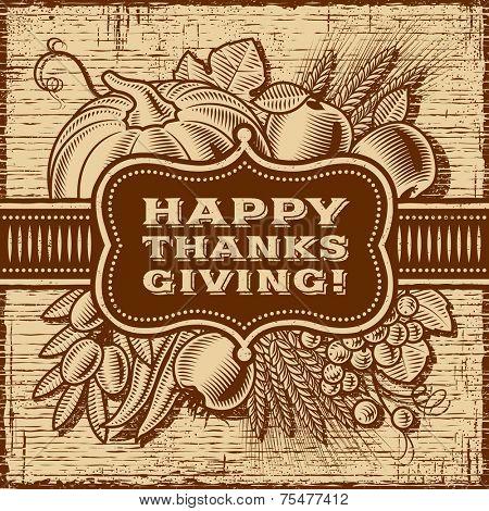 Happy Thanksgiving Retro Card (monochrome)