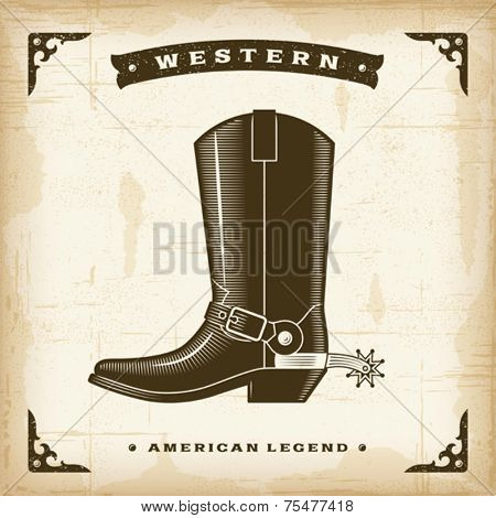 Vintage Western Cowboy Boot. Editable EPS10 vector illustration.
