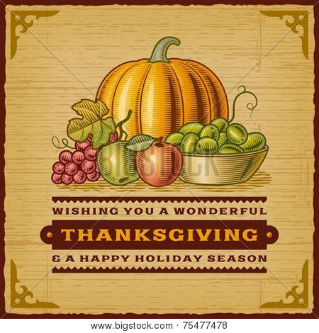 Vintage Thanksgiving Card. Fully editable EPS10 vector.