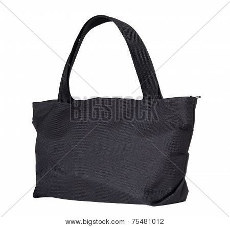 Black Cotton Bag Isolated On White Background With Clipping Path