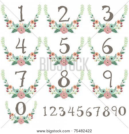 Numeric Wreath Table Card