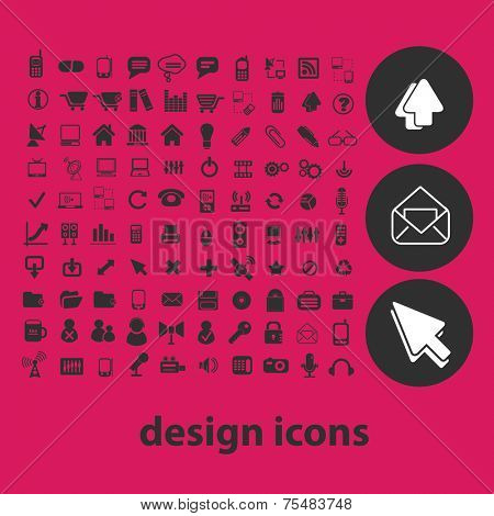 design, web, website black isolated icons, signs, symbols, illustrations set, vector