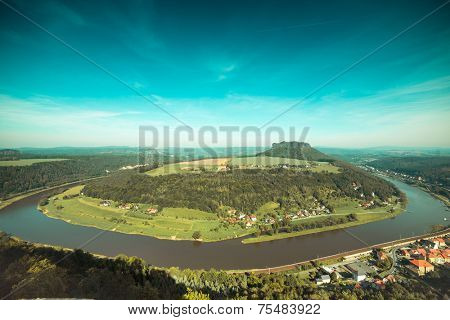 Elbe river from Konigstein castle, Saxony (Germany)