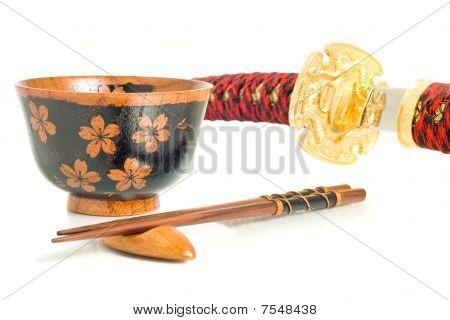 Japanese Culture. Katana, Chopsticks And Bowl