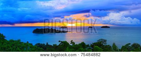 Panorama Scene Of Raining Clouds And Sun Set Sky Behind Koh Chang Island In Trat Province Eastern Se