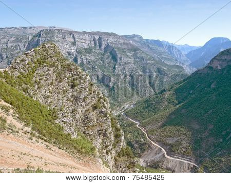 high view of Cemi Canyon from Lagjja e Re Pass, Kelmend Valley - Albania