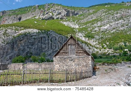 traditional old barn in village Nikc of commune Kelmend, Albania