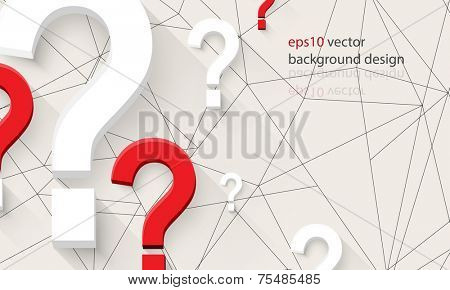 eps10 vector question mark icons on tangled lines business banner background
