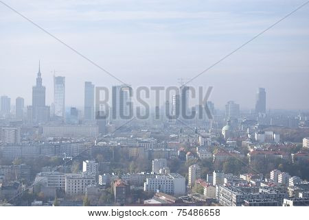 Warsaw downtown from the sky