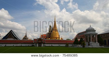 Landscape And Pagodas In Wat Phra Kaew