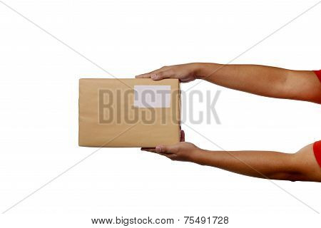 Holding Brown Package Box