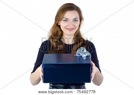 Photo of young woman giving the gift