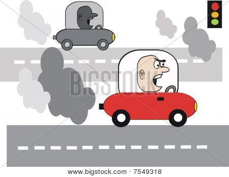 Car pollution cartoon