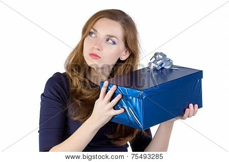 Photo of young woman received the gift