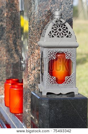 Lantern With A Red Candle