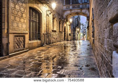Narrow Street In Gothic Quarter, Barcelona