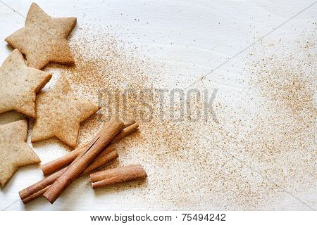 Christmas baking gingerbread cookies with ribbon