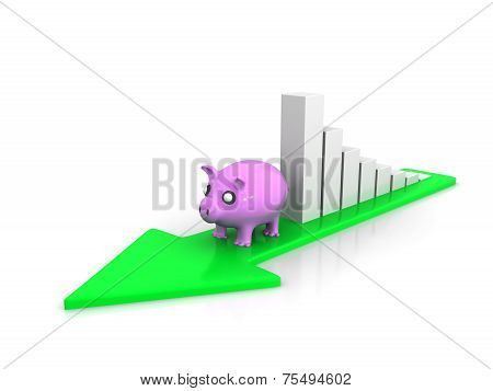 Climbing Piggy Showing Savings And Business Growth