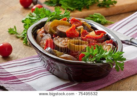 Steamed vegetables - eggplant, peppers and tomatoes