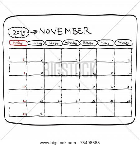November 2015 Planning Calendar Vector, Doodles Hand Drawn